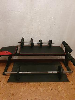 gimnasio en casa (pesas y banco)