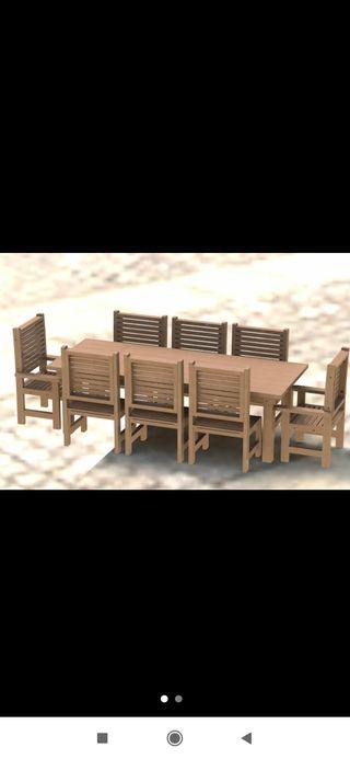 Mesa con 8 sillas de jardín estilo DYN