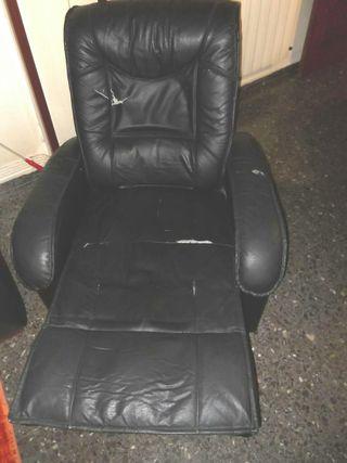 Sillon Polipiel Negro reclinable
