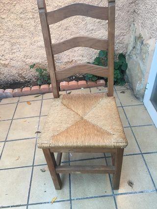 Sillas madera con asiento cuerda