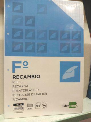 recambio tamaño folio milimetrado