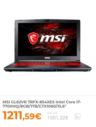 Portatil MSI Gaming GTX1060