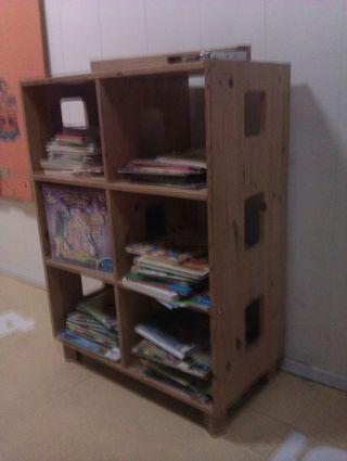 Mueble estanterias, madera natural pino