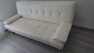 Sofa Cama simil piel blanco sin estrenar