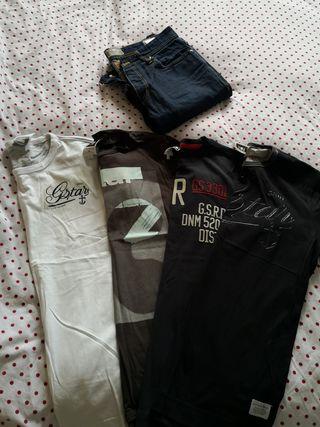 4 camisetas G-star raw y 1 pantalón Jack and Jones