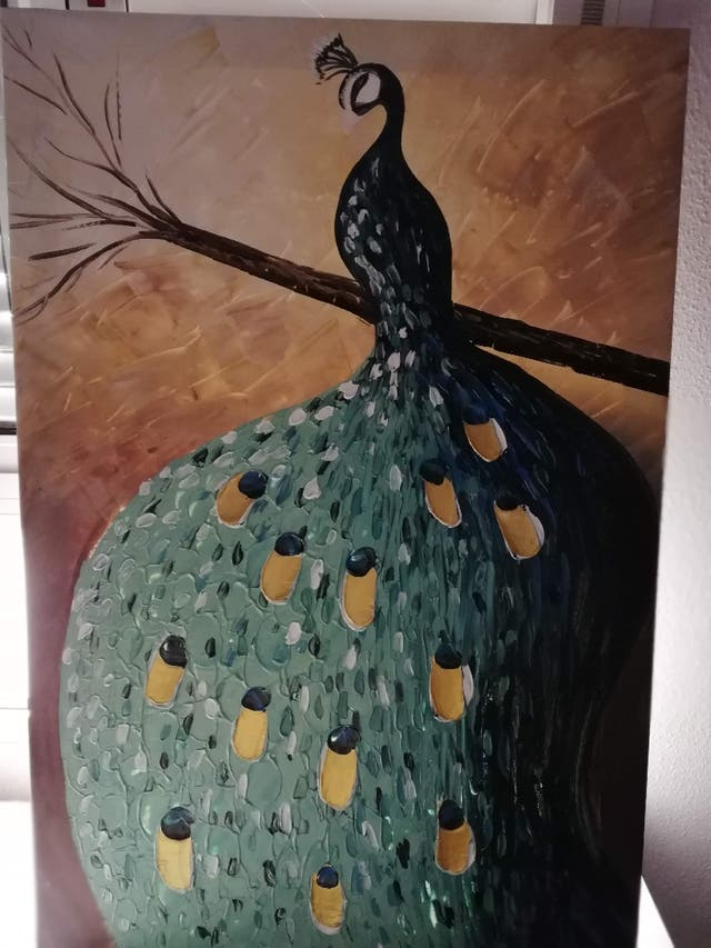 Pintura a oleo pavo real