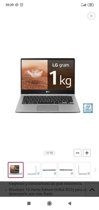 """Vendo portatil ultrafino de 13"""" LG Gram a estrenar"""