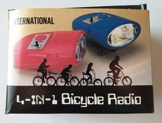 Radio Linterna Bicicleta con claxon y sirena 4x1