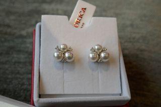 Pendientes plata perlas orgánicas circonitas