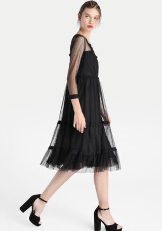 Vestido de mujer tintoretto de plumeti con encaje