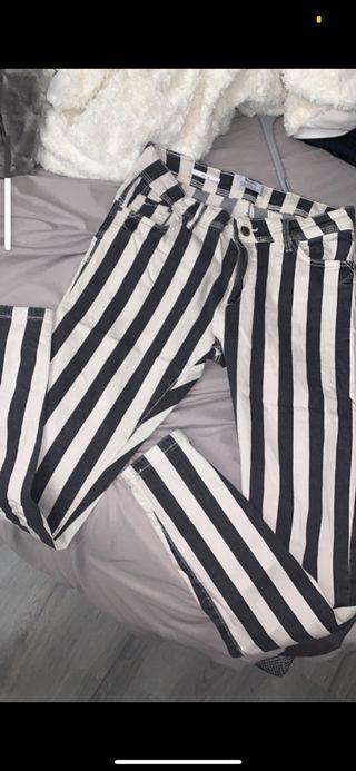 Pantalon jean slim rayures noir/blanc