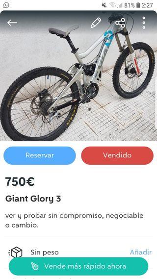 bici de descenso giant glory 3