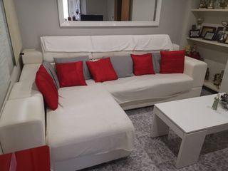 OPORTUNIDAD!! Sofá chaise longue piel blanco
