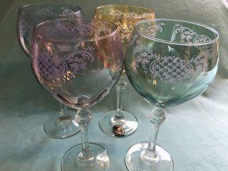 Copas de vino cristal tallado a mano