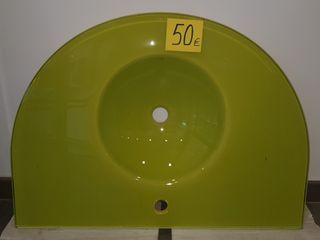 lavabo cristal 19mm color pistacho