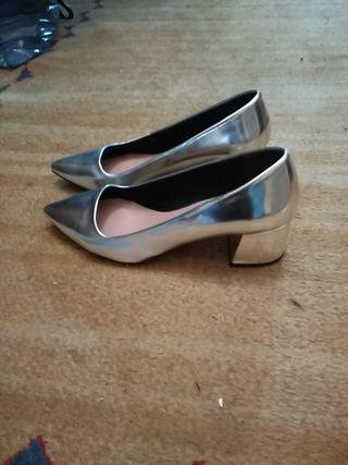 zapatos STR nuevos 39 plateados