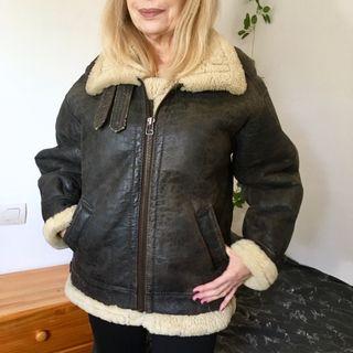 150 € de mujer Abrigo en aviador por segunda de cuero mano 3AqLR54j