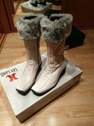 botas caña blanco polar