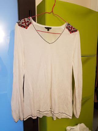 camiseta manga larga massimo dutti hombros bordado
