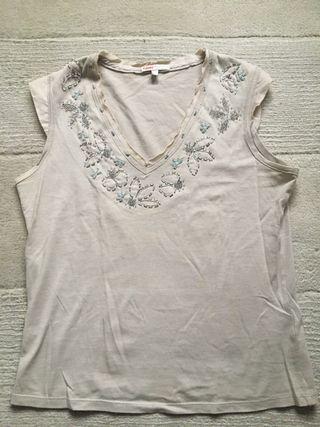 Camiseta beige/plata Massimo Dutti talla s