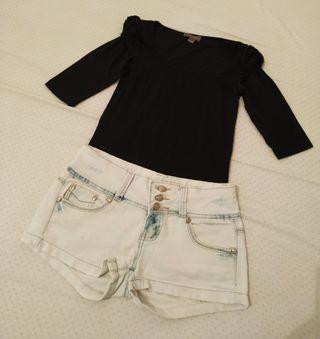 Short tejano talla 36+Camiseta Bershka talla S