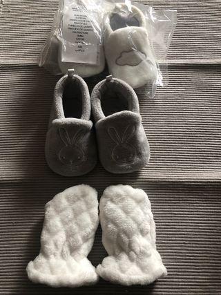 Zapatillas casa bebé 3/6 meses manoplas
