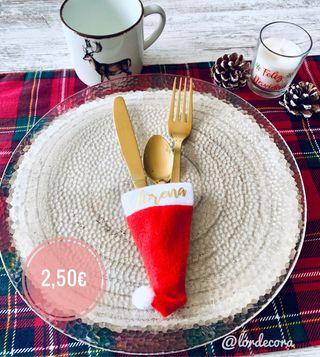 Mini gorro navideño cubiertos