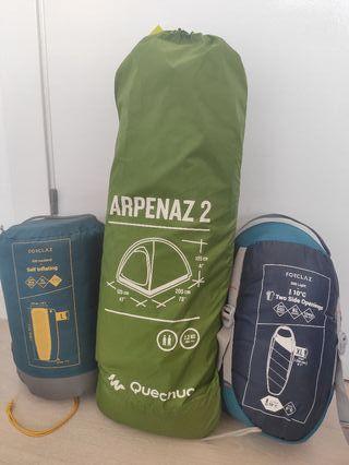 tienda de campaña + saco de dormir + aislante