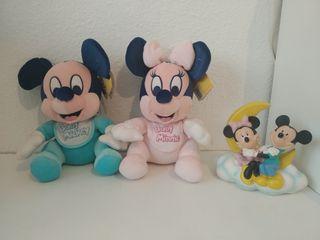 Peluches de baby Mickey y Minnie y hucha