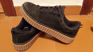 Zapatillas de ante negras con plataforma