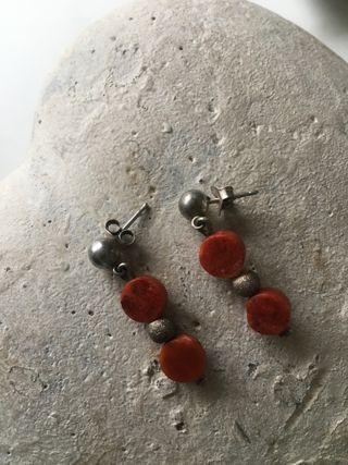 Pendientes Plata y Coral Rojo