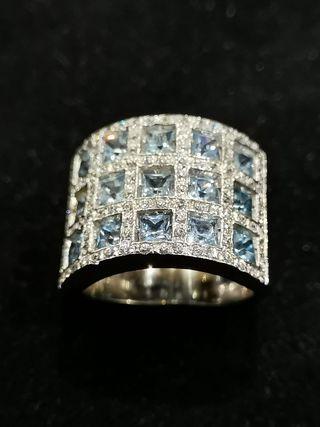 Anillo oro Diamantes y Agua Marinas
