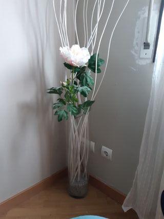 Flor plástico + jarrón de suelo + arena decorativa