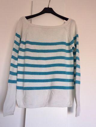 Jersey 100% algodón a rayas azules T L-XL