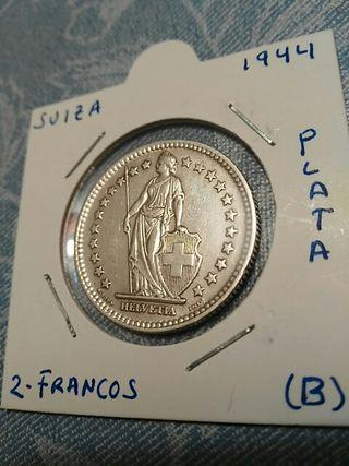 Moneda de plata 2 Francos Suizos