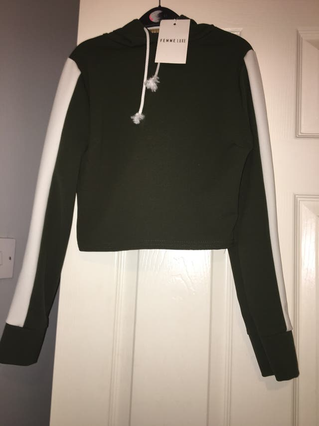 Size 8 khaki and white striped belly jumper