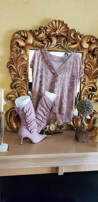 Combinacion de botas y blusa animal Print