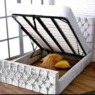 king size 5ft crushed velvet bed