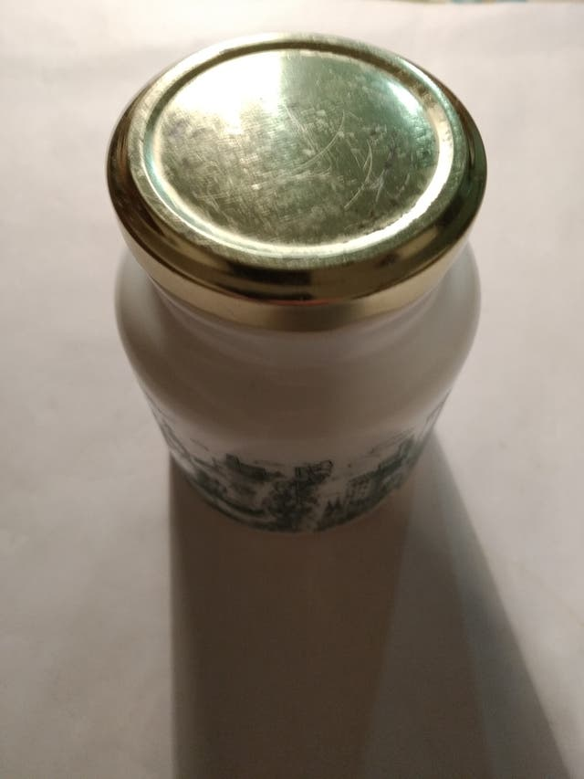 Bote tarro de opalina de mostaza alemán