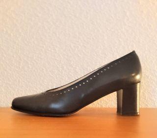 Zapatos piel alta calidad señora con tacón estable