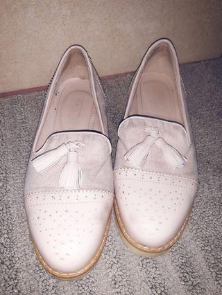 zapatos mujer mocasines rosa nude