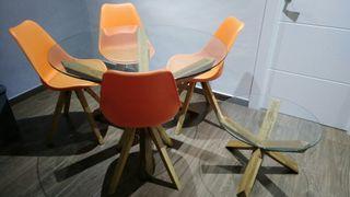 Mesa comedor + 4 sillas + mesa centro