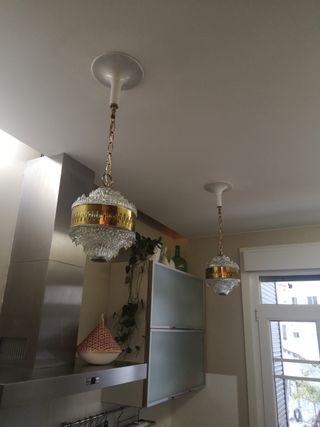 lámpara / lámparas vintage metal y cristal