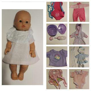 lote muñeca ropa, urinal, portebebe