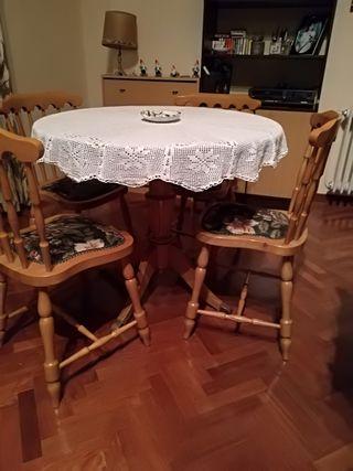 conjunto mesa, cuatro sillas.