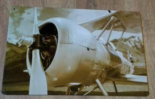 Cartel decoración avión biplano clásico.