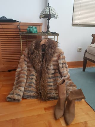 vendo abrigo de piel cuello de zorro T40