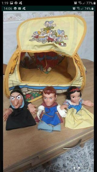 marionetas de Blancanieves con teatro-casa