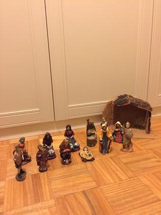 Belén de Navidad, casa+figuras+animales+accesorios