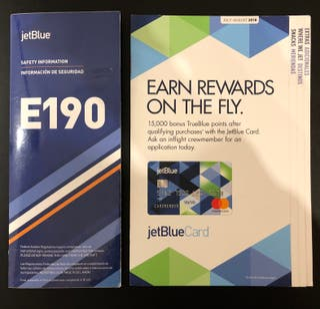 SAFETY CARD - JetBlue Embraer 190 + Inflight MENU